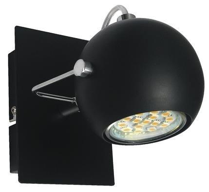 LAMPA ŚCIENNA CANDELLUX WYPRZEDAŻ 91-25005-Z KINKIET TONY 1X3W LED GU10 CZARNY MATOWY