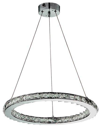 Lampa wisząca chromowa okrągła kryształki LED 24W Lords Candellux 31-25227