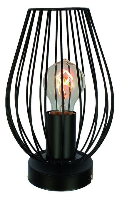 Lampka stołowa nocna czarna w koszyczku metalowym 60W E27 Factoria Candellux 41-66732