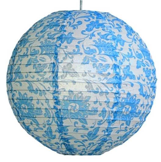 Abażur papierowy niebieskie kwiaty kula 35cm Kokon Candellux 70-94066